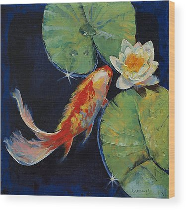 White Water Lilies Wood Prints