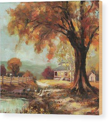 Autumn Pond Wood Prints
