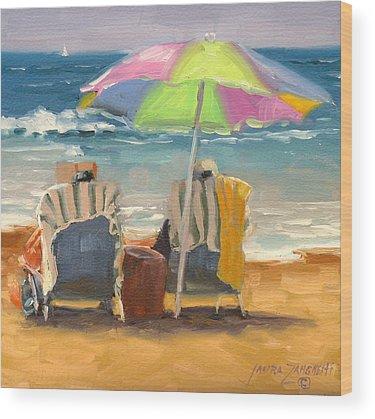 People On Beach Wood Prints