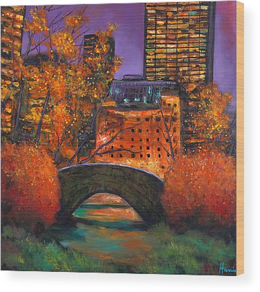 Bridge Fall Colors Wood Prints