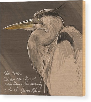 Blue Heron Wood Prints