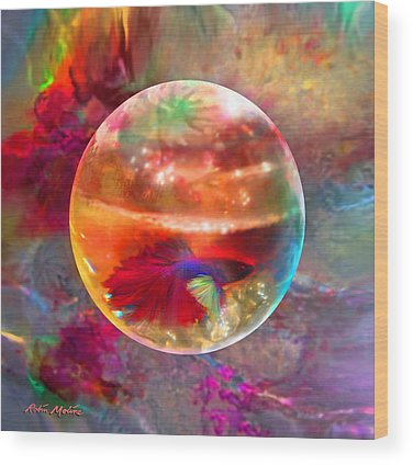 Fish Bowl Digital Art Wood Prints