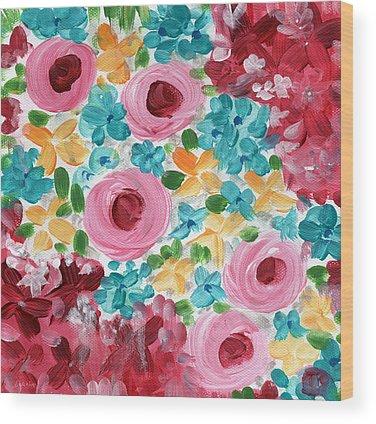 Shabby Chic Roses Wood Prints