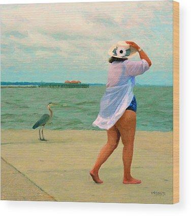 Fat Women On Beach Wood Prints