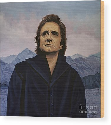 Johnny Cash Wood Prints