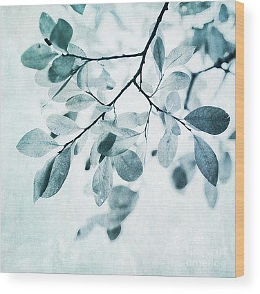 Leaves In Dusty Blue Wood Print