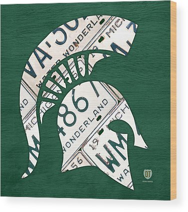Michigan State Wood Prints