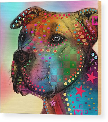 Dog Abstract Art Wood Prints