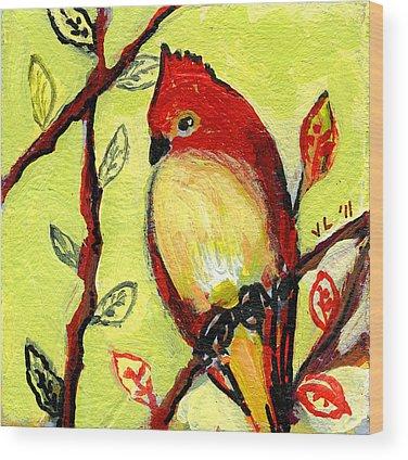 Red Bird Wood Prints