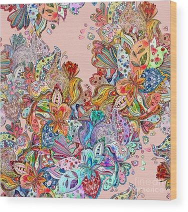Floral Design Digital Art Wood Prints