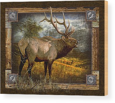 Bugling Elk Wood Prints
