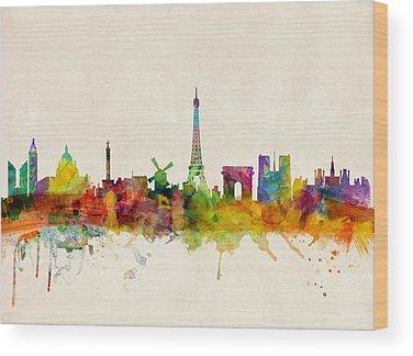 Paris Skyline Wood Prints
