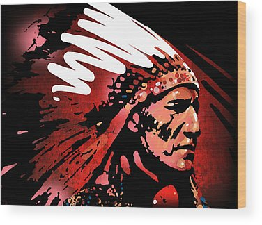 Indian Chief Wood Prints