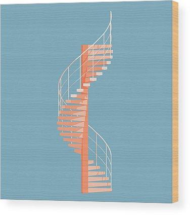 Stairs Wood Prints
