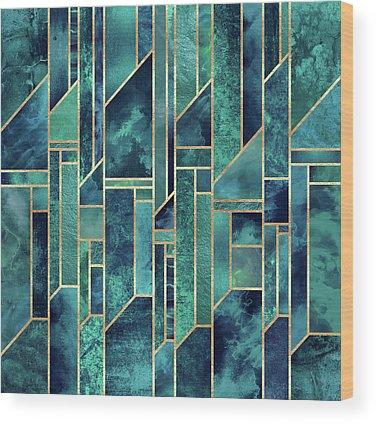 Green Blue Wood Prints