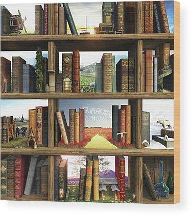 Books Wood Prints