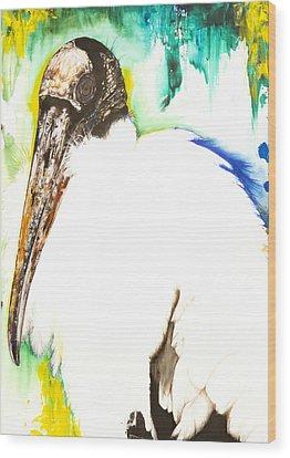 Wood Stork Mixed Media Wood Prints