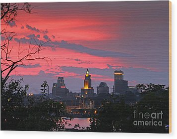 4th Of July Sunset Providence Ri Wood Print