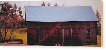 Autumn Barn Wood Print