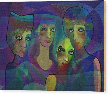 027 - Sisters  Blue   Wood Print