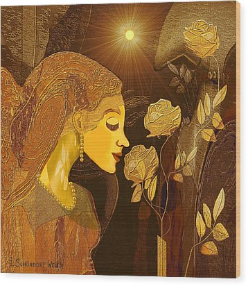 171 - Woman With Golden Roses     Wood Print by Irmgard Schoendorf Welch