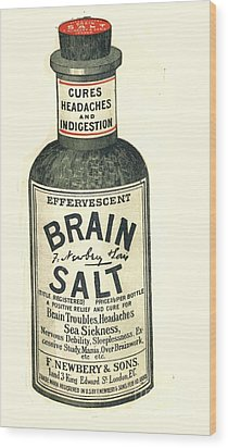 1890s Uk Brain Salt Headaches Humour Wood Print by The Advertising Archives