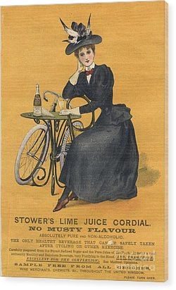 1890s Uk  Stowers Lime Juice Cordial Wood Print by The Advertising Archives