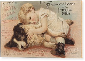 1890s Usa Babies Hoytes Cologne Dogs Wood Print by The Advertising Archives