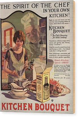 1910s Usa Cooking Kitchens Bouquets Wood Print by The Advertising Archives
