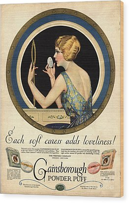 1910s Usa Pampering Make-up Makeup Wood Print by The Advertising Archives