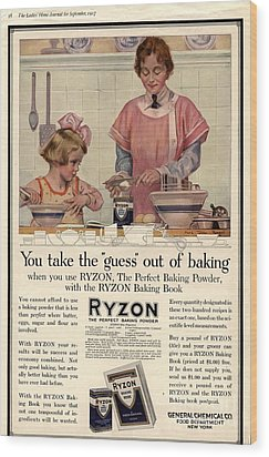 1917 1910s Usa Cooking Ryzon Baking Wood Print by The Advertising Archives