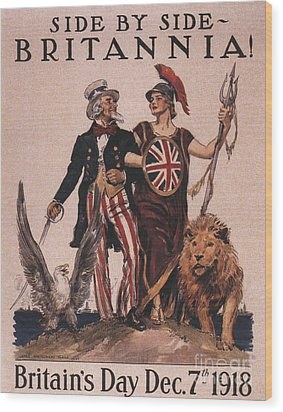 1918 1910s Usa Uncle Sam Ww1  Lions Wood Print by The Advertising Archives