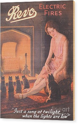 1920s Uk Fires Cats Revo  Appliances Wood Print by The Advertising Archives