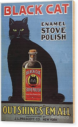 1920s Usa Cats Black Cat Enamel Stove Wood Print by The Advertising Archives