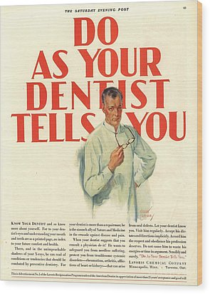 1920s Usa Dentists Lavoris Wood Print by The Advertising Archives