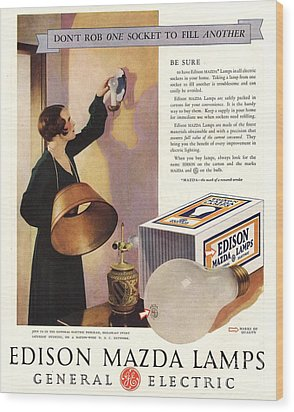 1920s Usa Edison Mazda Lamps General Wood Print by The Advertising Archives