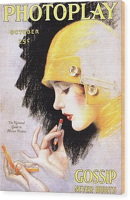 1920s Usa Photoplay Lipsticks Putting Wood Print by The Advertising Archives