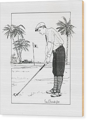 Wood Print featuring the drawing  1920's Vintage Golfer by Ira Shander