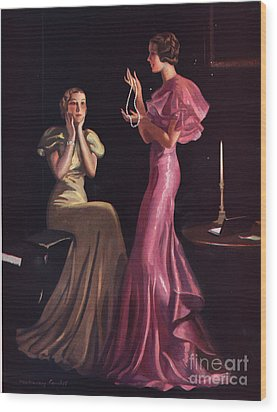 1930s Uk Womens Evening Gowns Dresses Wood Print by The Advertising Archives