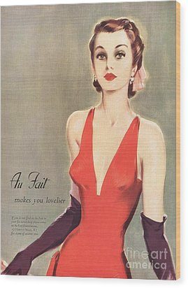1940s Uk Au Fait Womens Dresses Gloves Wood Print by The Advertising Archives