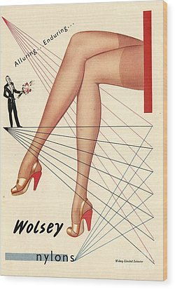 1940s Uk Wolsey Womens Hosiery Wood Print by The Advertising Archives
