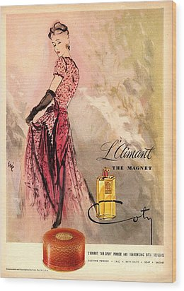 1940s Usa Coty   Laimant Womens Wood Print by The Advertising Archives