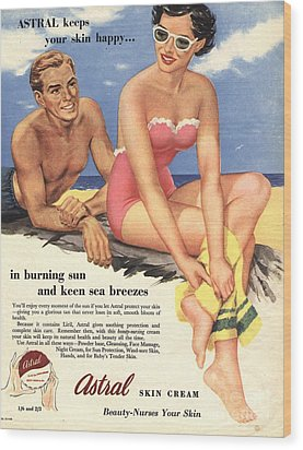 1950s Uk Sun Creams Lotions Tan Wood Print by The Advertising Archives