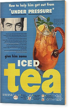 1950s Usa Iced Tea Wood Print by The Advertising Archives