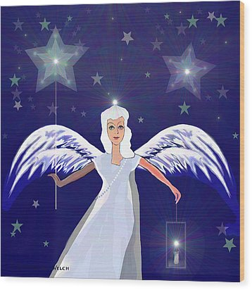 806 -  Christmas Angel  With  Lantern  Wood Print by Irmgard Schoendorf Welch