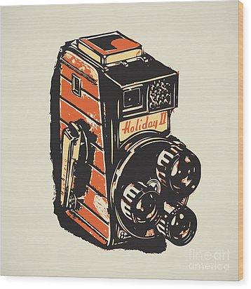 8mm Vintage Camera Wood Print