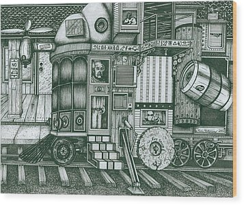 Wood Print featuring the drawing   A Traveling Cabinets Of Curiosities by Richie Montgomery