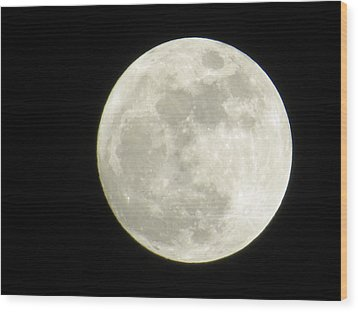 A Winter'sfullmoon Over Ga Wood Print