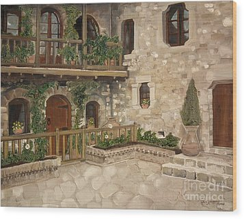 Wood Print featuring the painting Greek Courtyard - Agiou Stefanou Monastery -balcony by Jan Dappen
