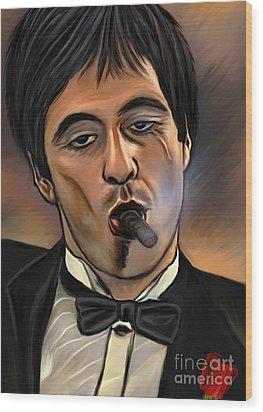 Al Pacino-godfather Wood Print by Andrzej Szczerski
